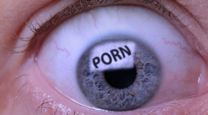 Eye of a man addicted to pornography